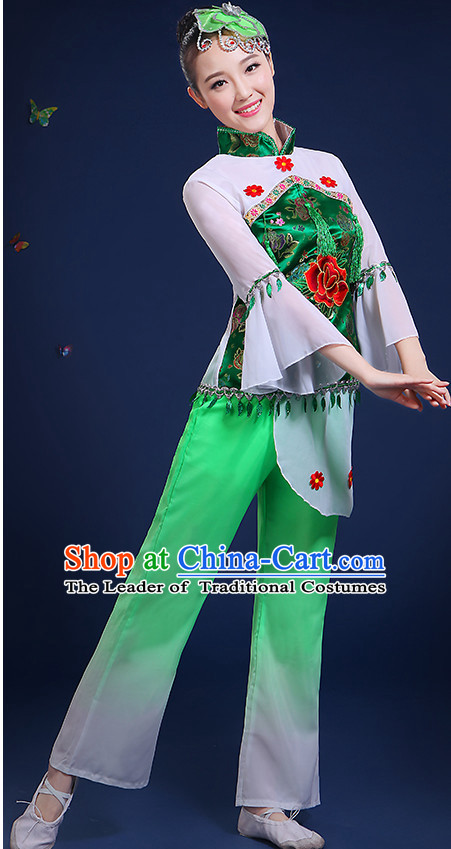 5e2f29a7b Chinese Folk Fan Dance Costumes and Headpieces Complete Set for Women