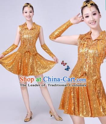 e63b640e4f69 Traditional Chinese Modern Dance Opening Dance Jazz Dance Golden Uniform  Folk Dance Chorus Costume for Women