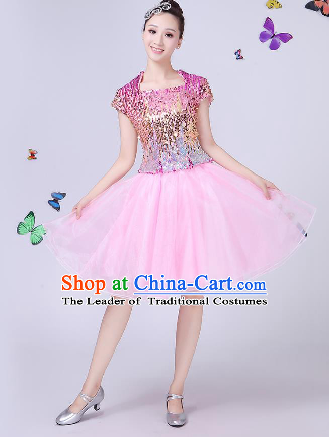 3ab570c3cae3 Traditional Chinese Modern Dance Opening Dance Jazz Dance Pink Dress Folk  Dance Chorus Costume for Women