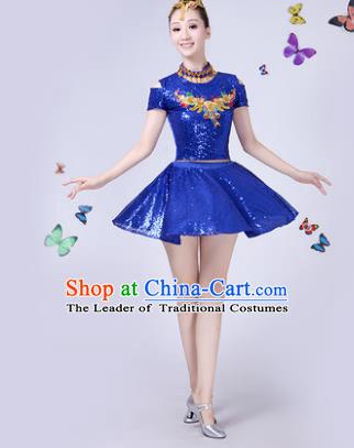 46e84bd441b4 Traditional Chinese Modern Dance Opening Dance Jazz Dance Blue Paillette  Clothing Folk Dance Chorus Costume for Women
