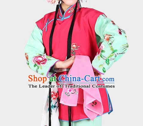 b149df231 Chinese Beijing Opera Servant Girl Costume Embroidered Rosy Vest, China  Peking Opera Actress Embroidery Waistcoat Clothing