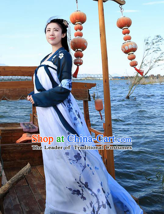 ebae36ad8 Traditional Ancient Chinese Young Lady Costume Embroidered Blouse and Ink  Plum Blossom Slip Skirt Complete Set, Elegant Hanfu Suits Clothing Chinese  Tang ...