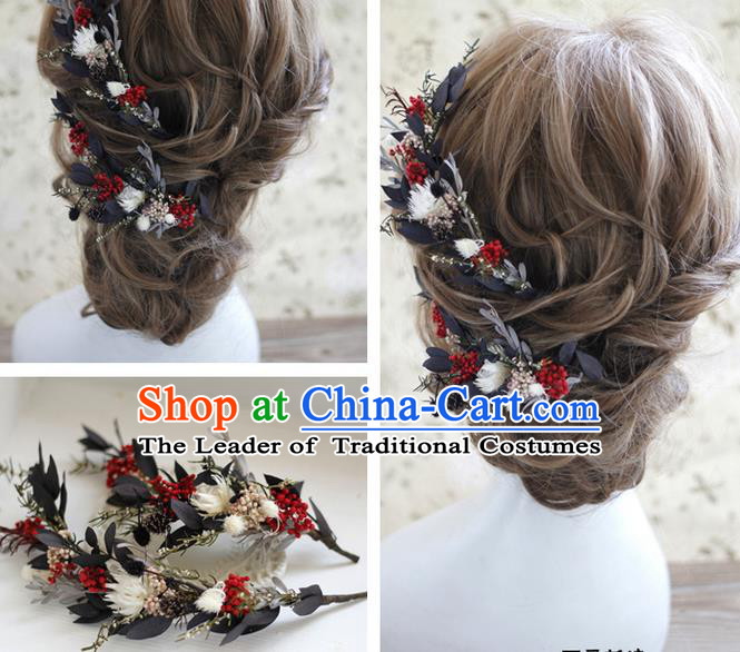 5c30f263d Top Grade Handmade Wedding Bride Hair Accessories Red Flowers Hairpins,  Traditional Princess Baroque Headpiece Complete Set for Women