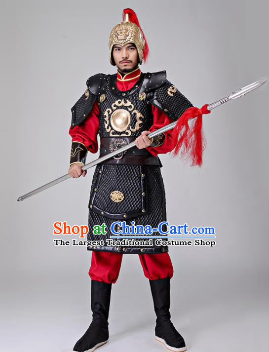 4d26022cb Traditional Chinese Han Dynasty Drama General Costumes Ancient Warrior  Helmet and Body Armour for Men