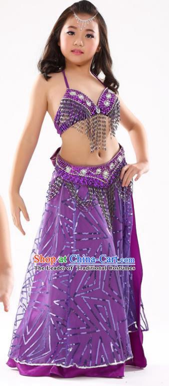 d952edff2f9a Traditional Indian Children Oriental Dance Purple Dress Belly Dance Costume  for Kids
