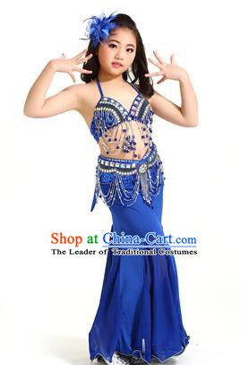 6fcc01c01a51 Indian Traditional Children Belly Dance Costume Classical Oriental Dance  Royalblue Dress for Kids