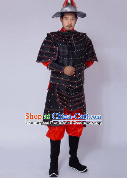 421114233 Chinese Ancient Drama Costume Yuan Dynasty General Black Helmet and Armour  Complete Set for Men